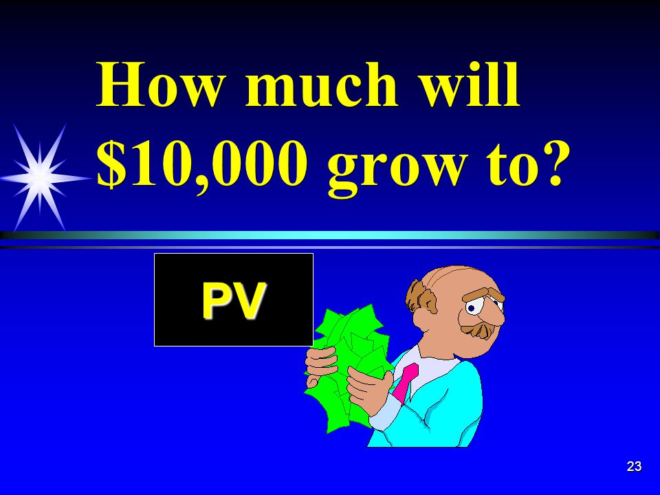 23 How much will $10,000 grow to PV