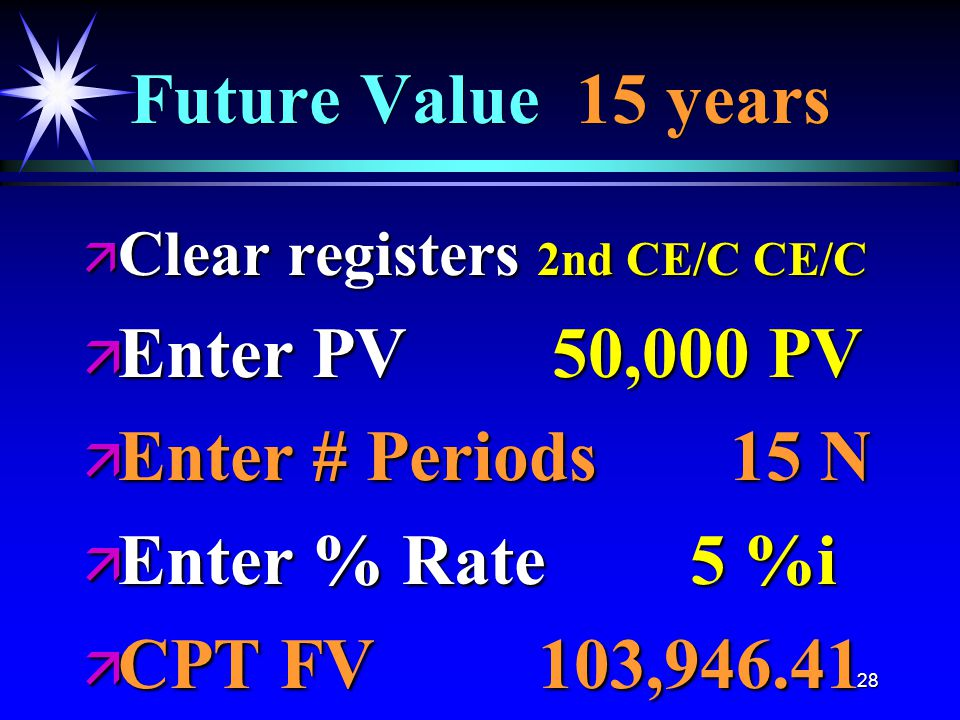 28 Future Value 15 years ä Clear registers 2nd CE/C CE/C ä Enter PV 50,000 PV ä Enter # Periods 15 N ä Enter % Rate 5 %i ä CPT FV 103,946.41