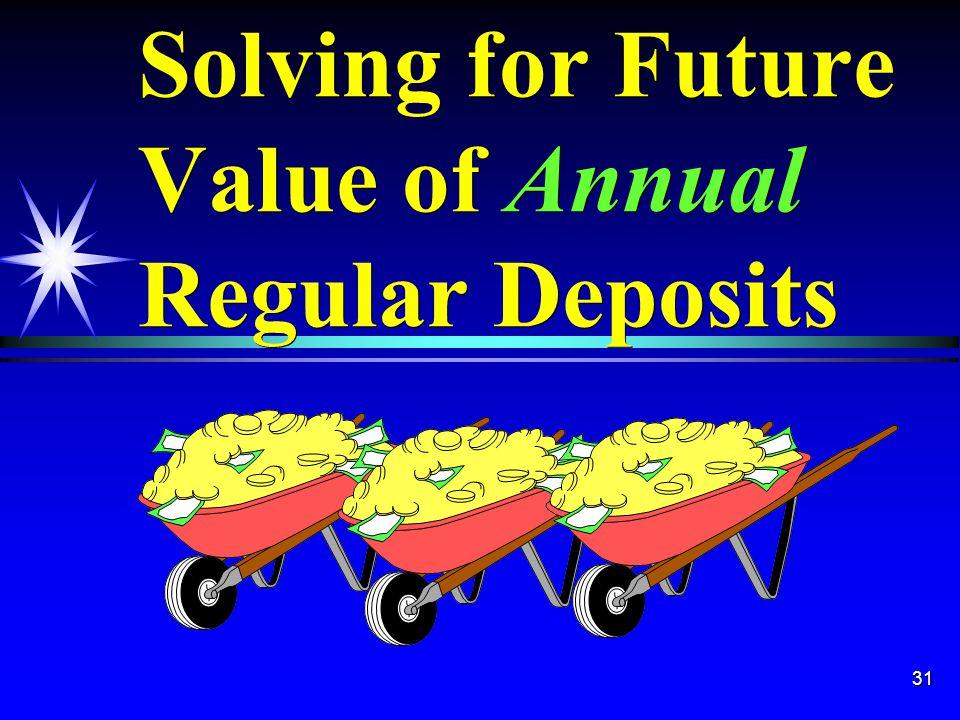 31 Solving for Future Value of Annual Regular Deposits