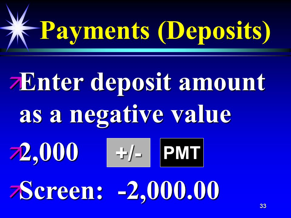 33 Payments (Deposits) +/- ä Enter deposit amount as a negative value ä 2,000 ä Screen: -2,000.00 PMT