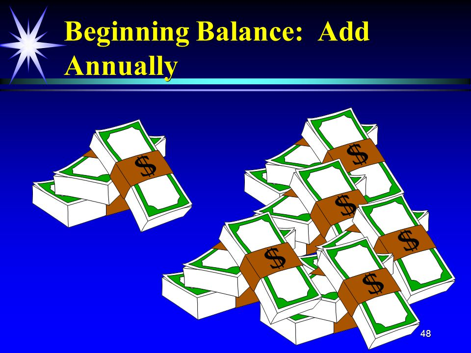48 Beginning Balance: Add Annually