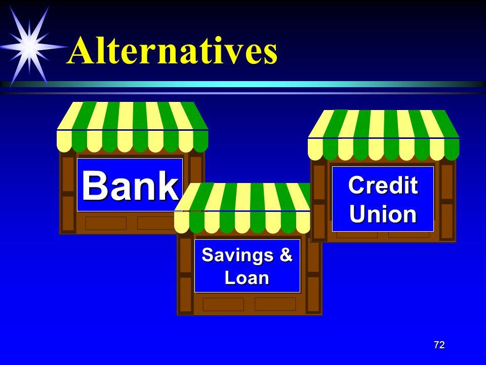 72 Alternatives Bank CreditUnion Savings & Loan