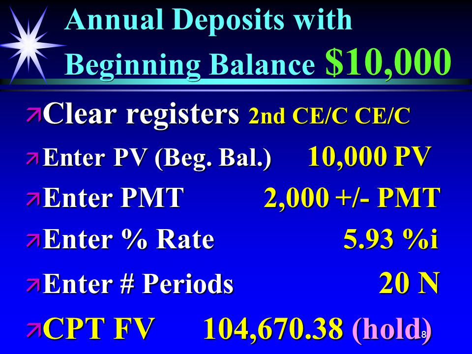 80 Annual Deposits with Beginning Balance $10,000 ä Clear registers 2nd CE/C CE/C ä Enter PV (Beg.