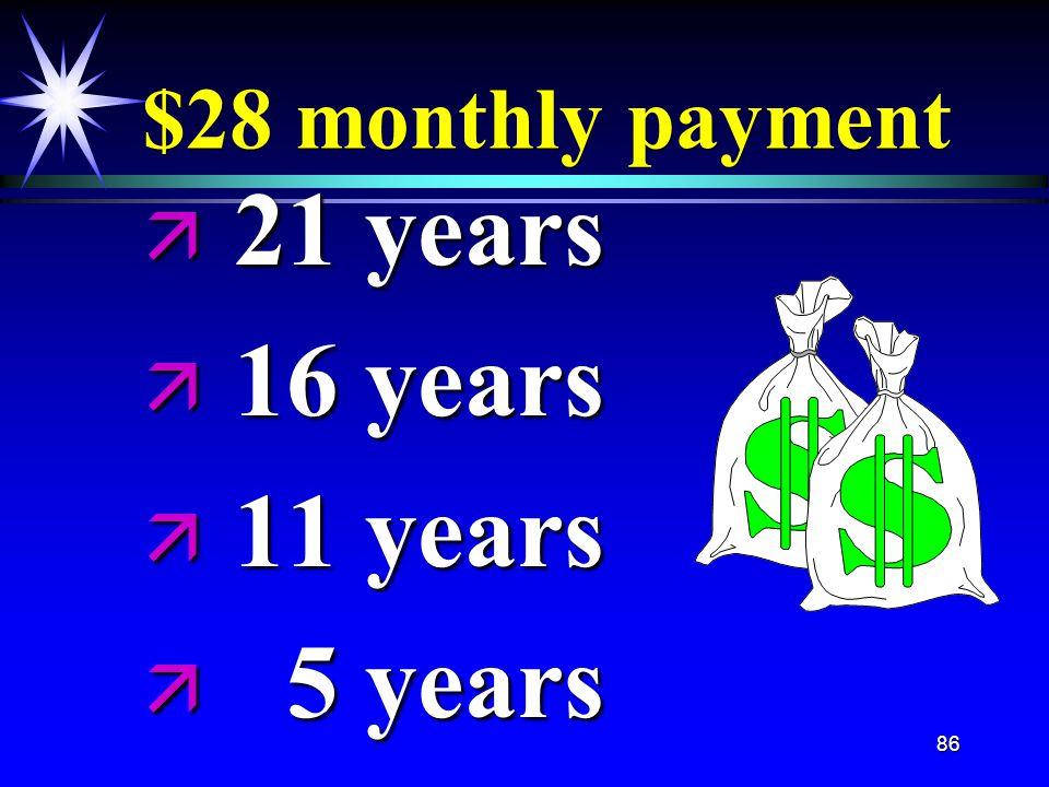 86 $28 monthly payment ä 21 years ä 16 years ä 11 years ä 5 years