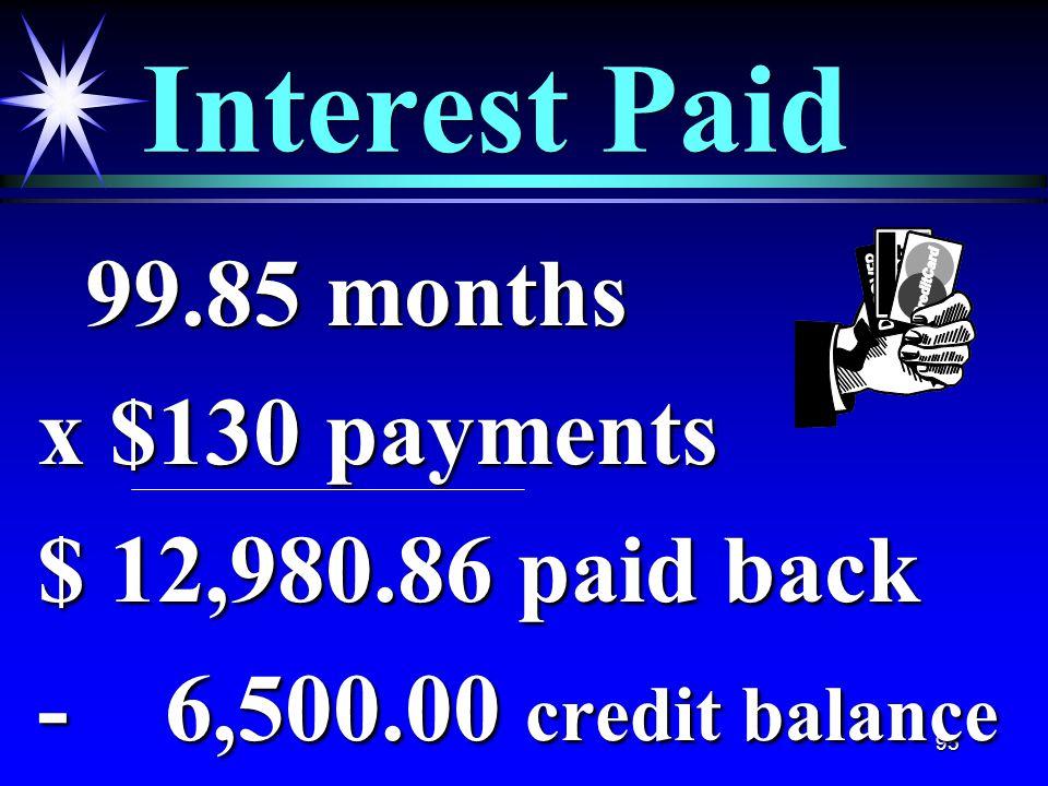 95 Interest Paid 99.85 months 99.85 months x $130 payments $ 12,980.86 paid back - 6,500.00 credit balance