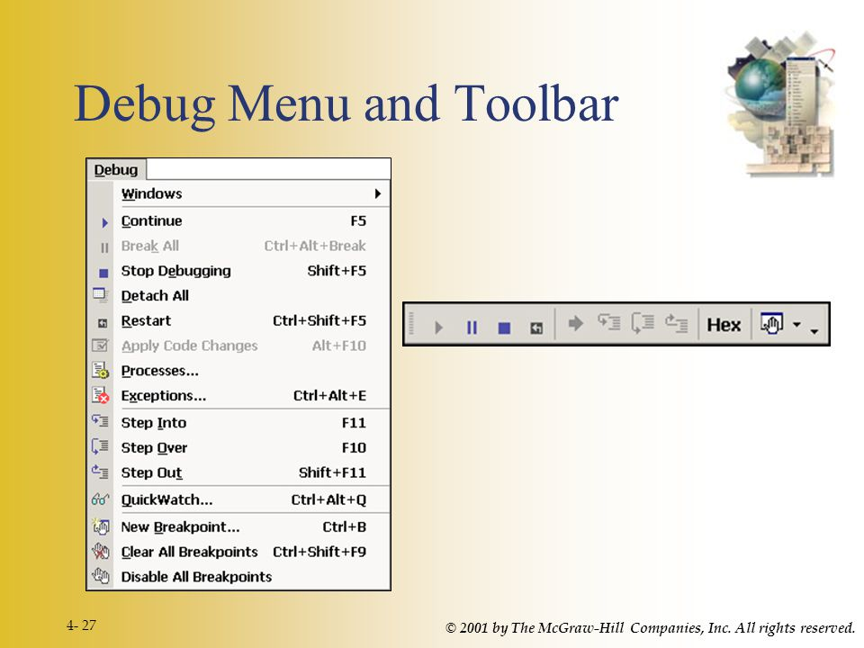 © 2001 by The McGraw-Hill Companies, Inc. All rights reserved. 4- 27 Debug Menu and Toolbar