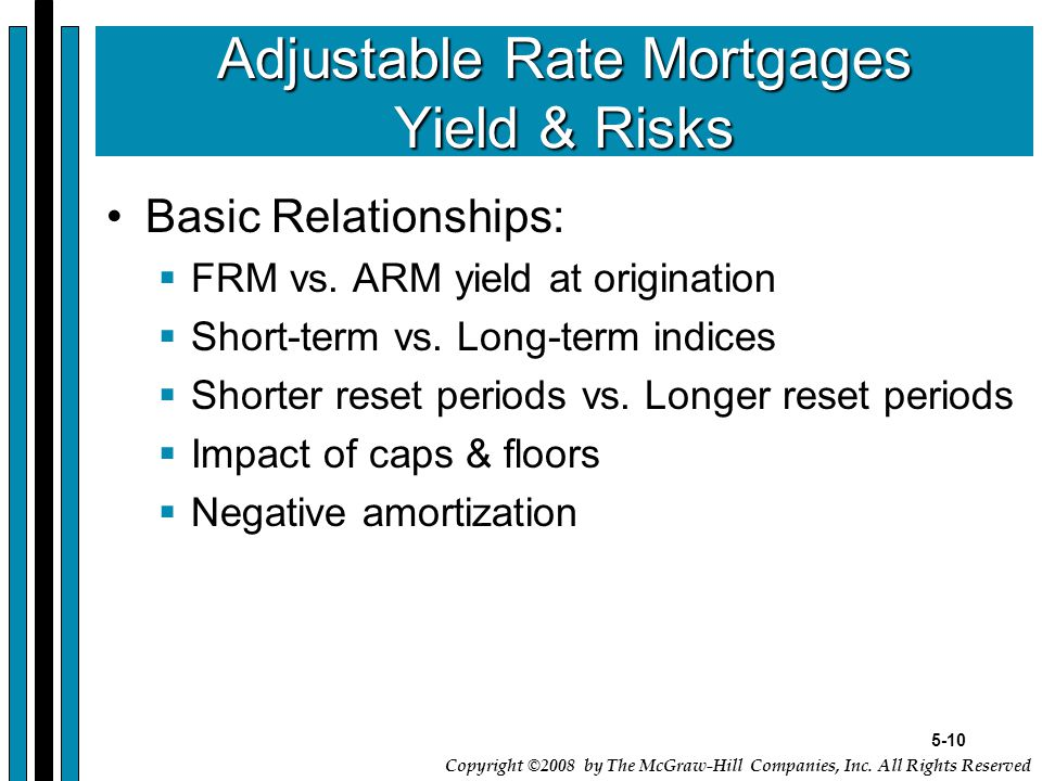 5-10 Copyright ©2008 by The McGraw-Hill Companies, Inc. All Rights Reserved Adjustable Rate Mortgages Yield & Risks Basic Relationships:  FRM vs. ARM