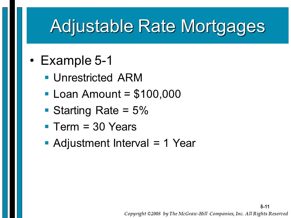 5-11 Copyright ©2008 by The McGraw-Hill Companies, Inc. All Rights Reserved Adjustable Rate Mortgages Example 5-1  Unrestricted ARM  Loan Amount = $