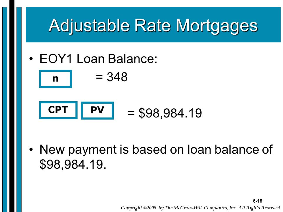 5-18 Copyright ©2008 by The McGraw-Hill Companies, Inc. All Rights Reserved Adjustable Rate Mortgages EOY1 Loan Balance: = 348 = $98,984.19 New paymen