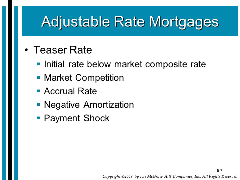 5-7 Copyright ©2008 by The McGraw-Hill Companies, Inc. All Rights Reserved Adjustable Rate Mortgages Teaser Rate  Initial rate below market composite