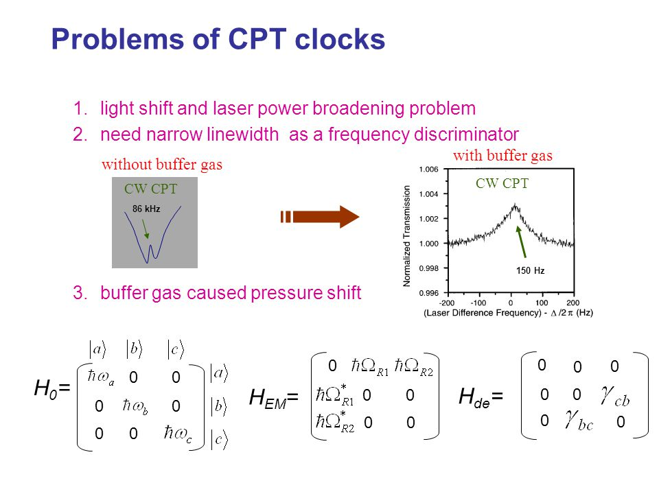 Problems of CPT clocks 1.light shift and laser power broadening problem 2.need narrow linewidth as a frequency discriminator 3.buffer gas caused press