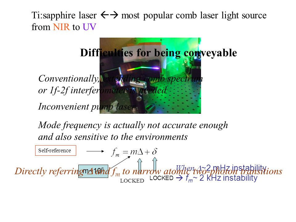 Ti:sapphire laser  most popular comb laser light source from NIR to UV Difficulties for being conveyable Conventionally, extending comb spectrum or