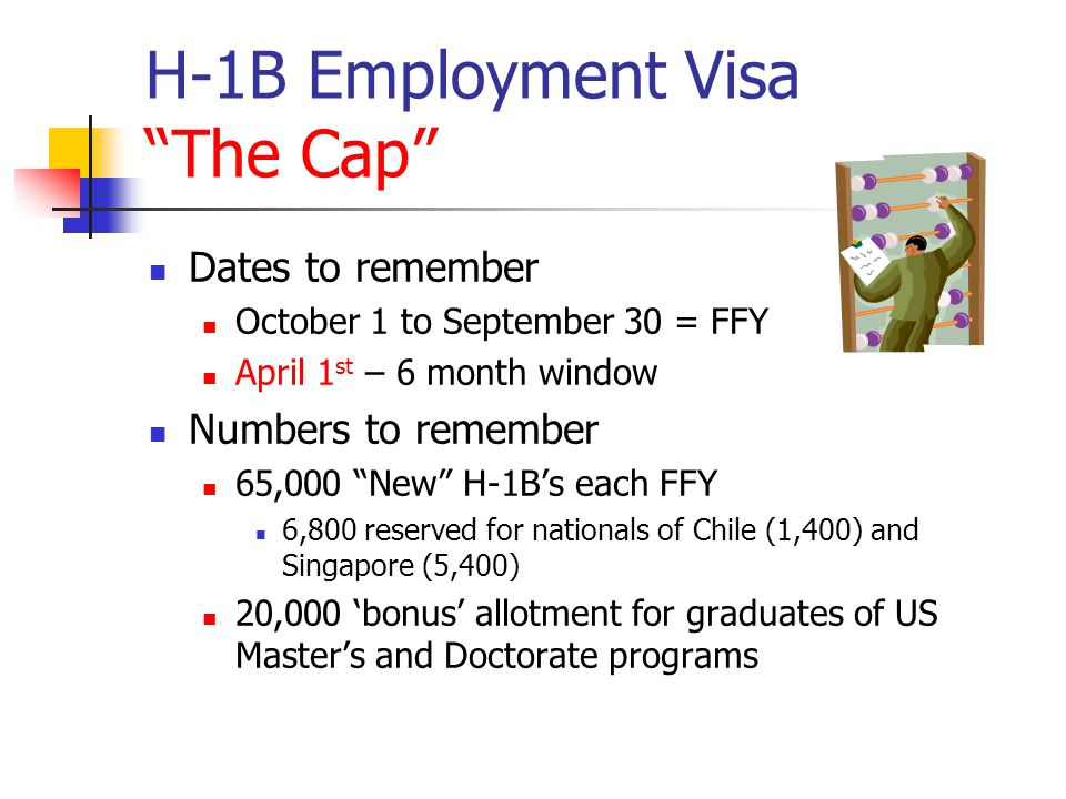 "H-1B Employment Visa ""The Cap"" Dates to remember October 1 to September 30 = FFY April 1 st – 6 month window Numbers to remember 65,000 ""New"" H-1B's e"