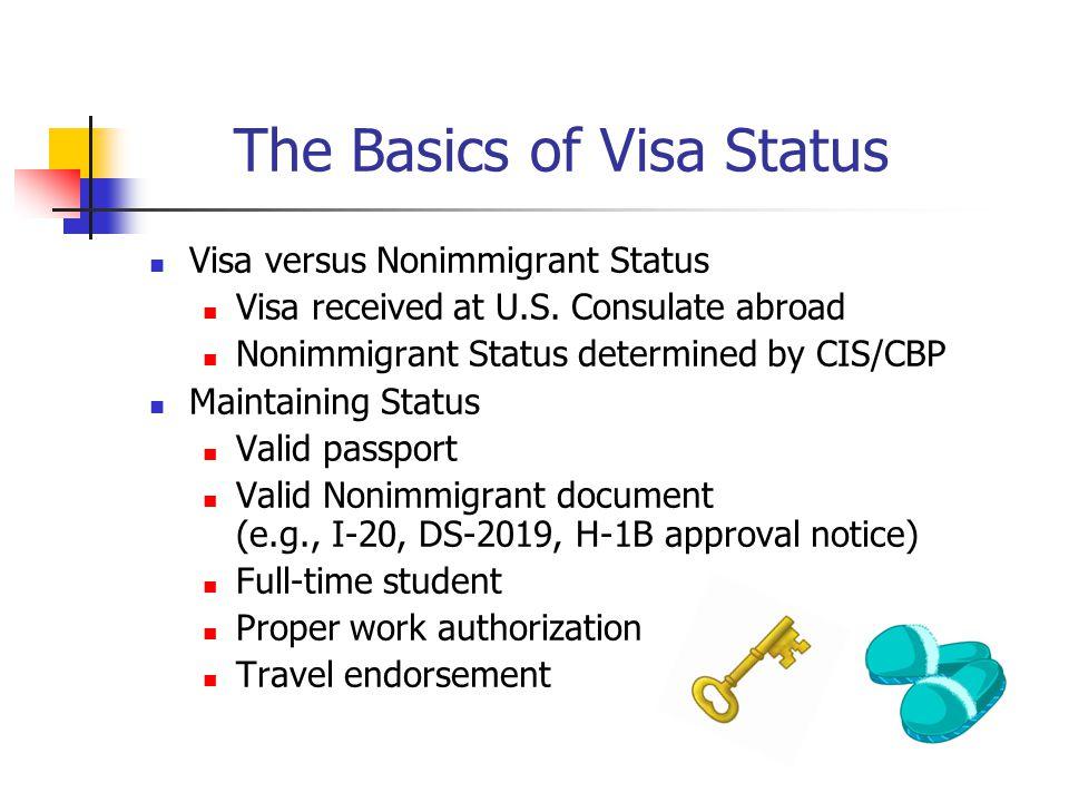 The Basics of Visa Status Visa versus Nonimmigrant Status Visa received at U.S.
