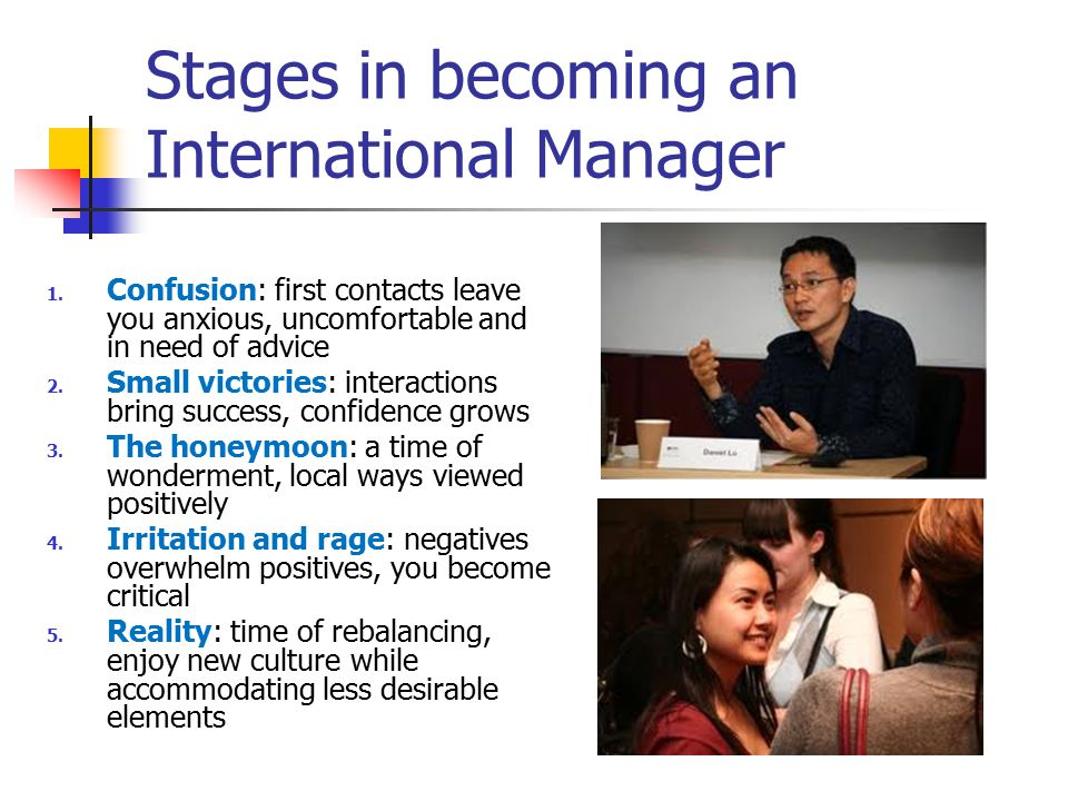 Stages in becoming an International Manager 1.