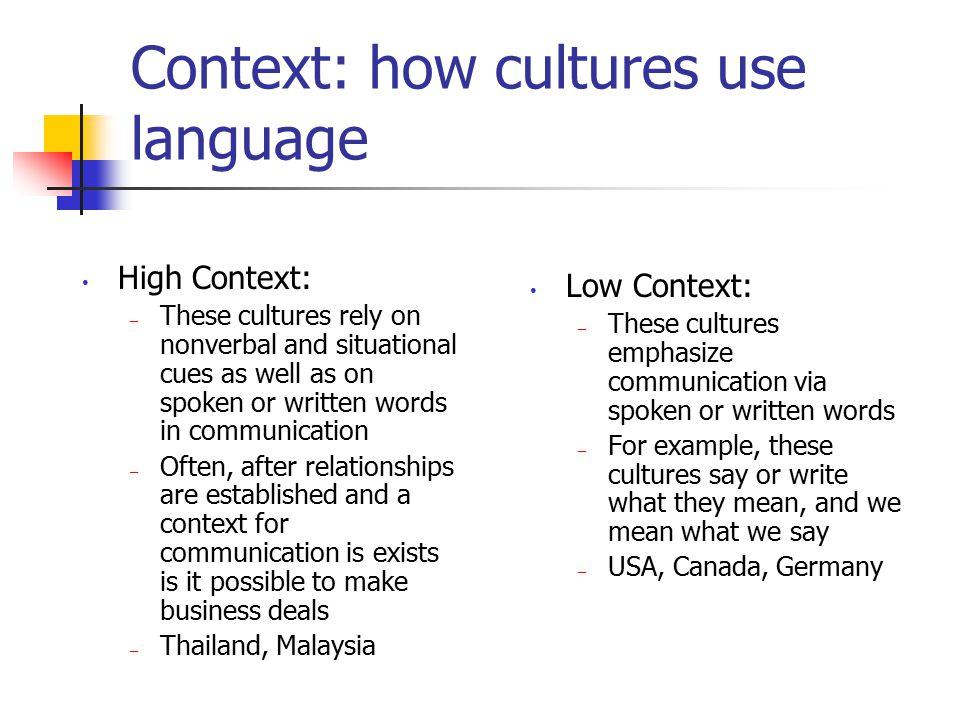 Context: how cultures use language High Context: – These cultures rely on nonverbal and situational cues as well as on spoken or written words in comm