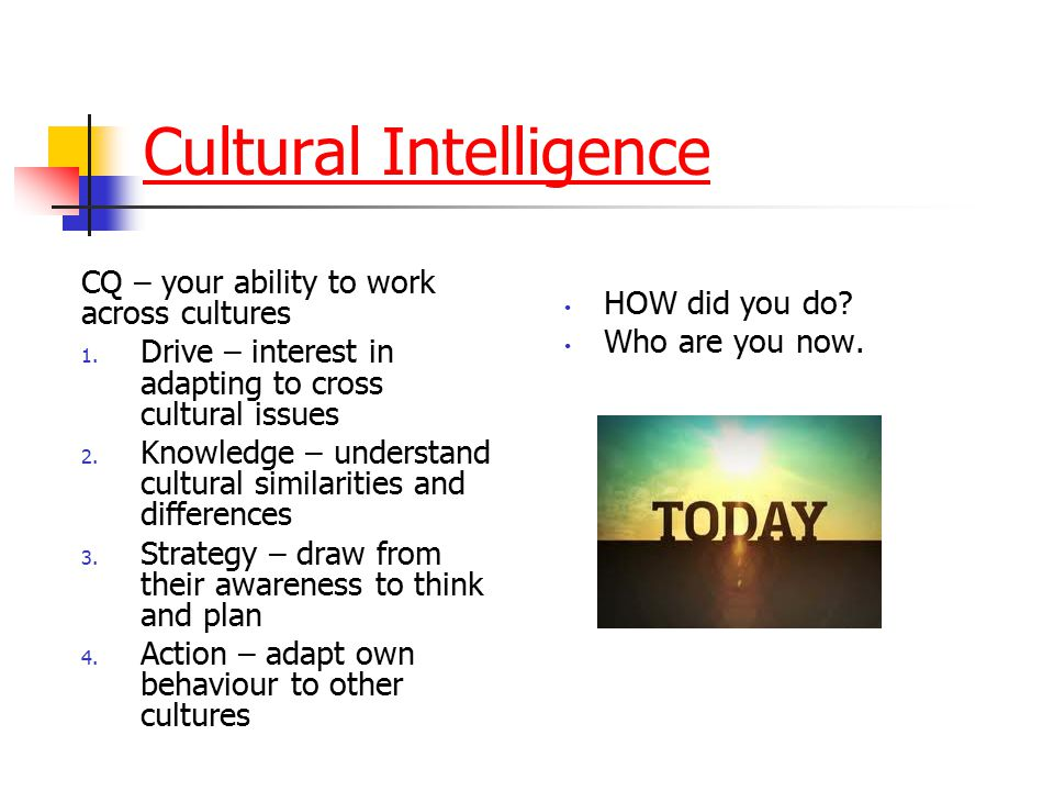 Cultural Intelligence CQ – your ability to work across cultures 1. Drive – interest in adapting to cross cultural issues 2. Knowledge – understand cul