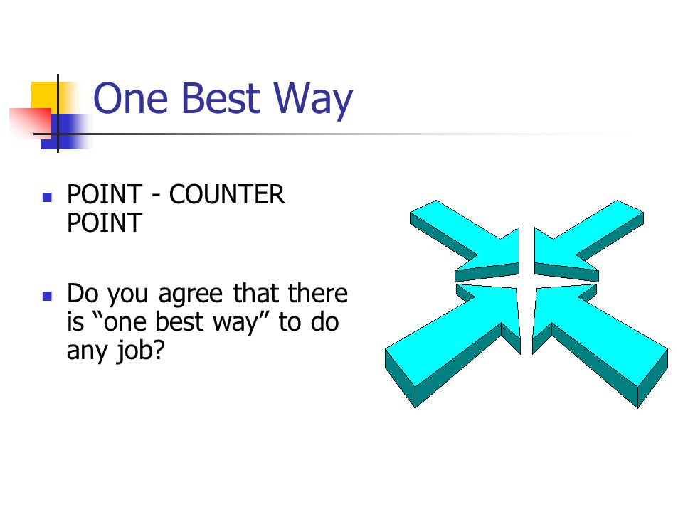 One Best Way POINT - COUNTER POINT Do you agree that there is one best way to do any job?