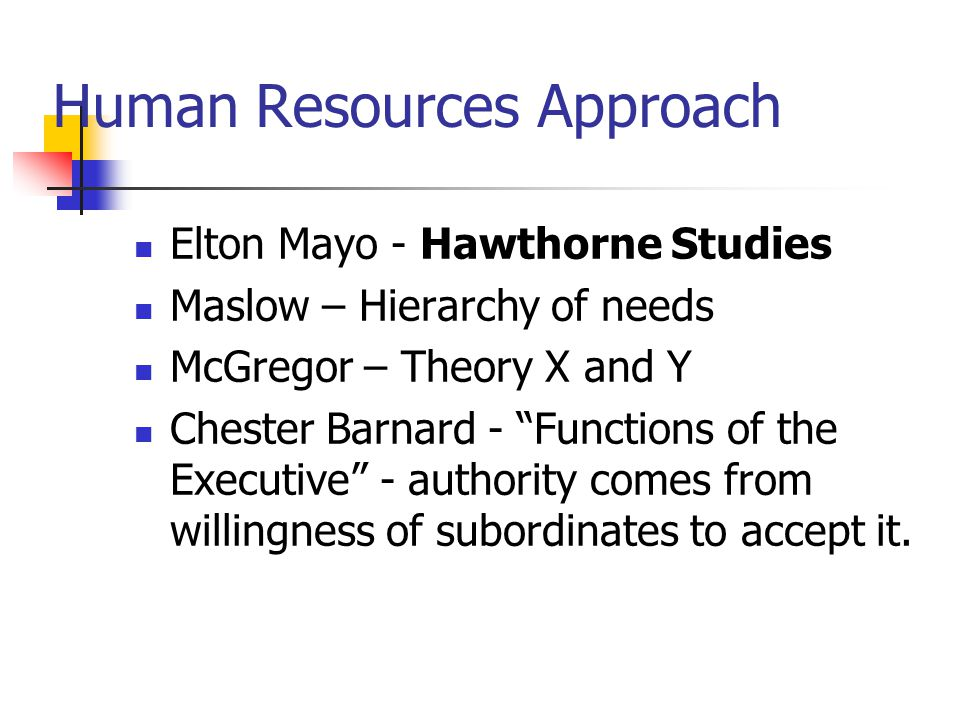 Human Resources Approach Elton Mayo - Hawthorne Studies Maslow – Hierarchy of needs McGregor – Theory X and Y Chester Barnard - Functions of the Executive - authority comes from willingness of subordinates to accept it.
