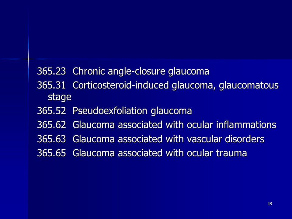 365.23 Chronic angle-closure glaucoma 365.31 Corticosteroid-induced glaucoma, glaucomatous stage 365.52 Pseudoexfoliation glaucoma 365.62 Glaucoma associated with ocular inflammations 365.63 Glaucoma associated with vascular disorders 365.65 Glaucoma associated with ocular trauma 19