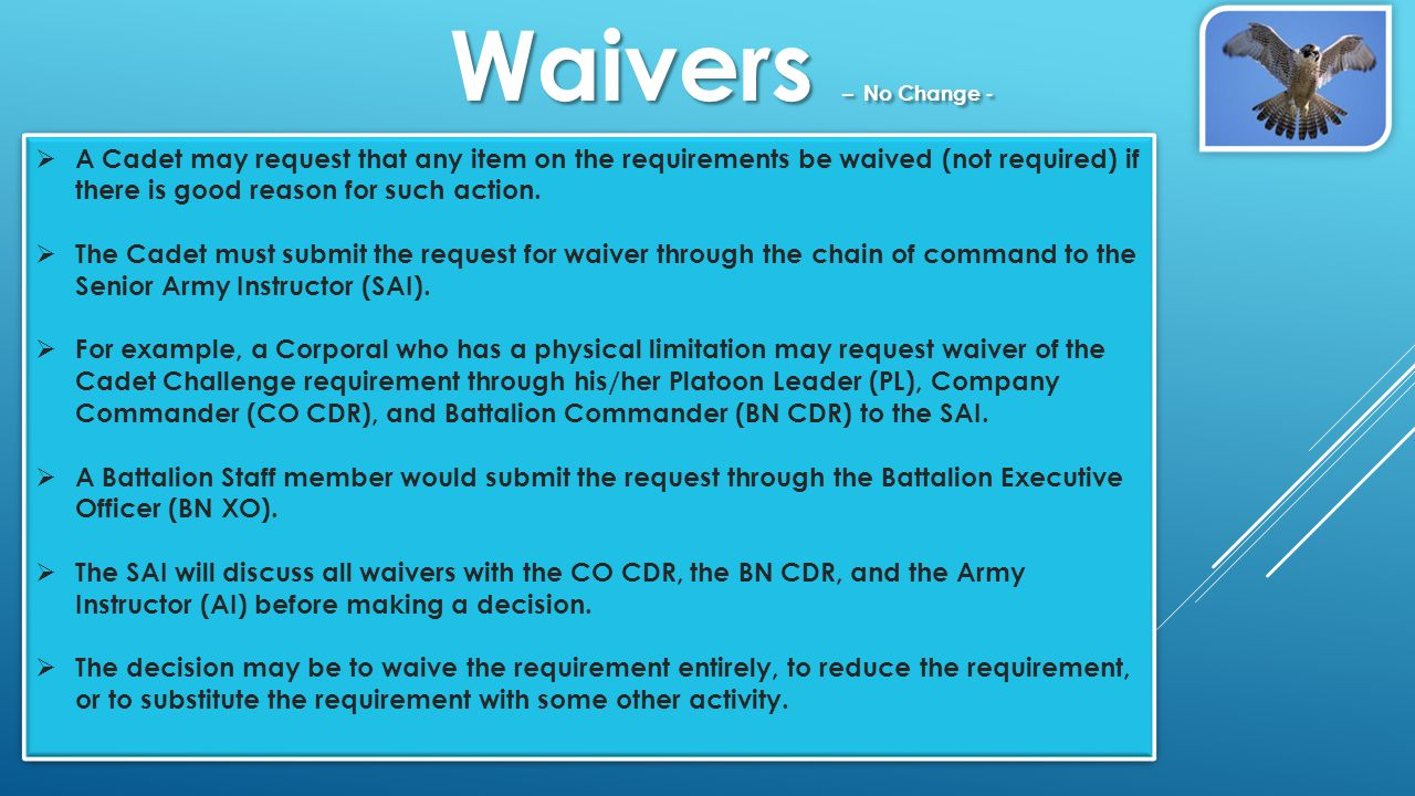  A Cadet may request that any item on the requirements be waived (not required) if there is good reason for such action.