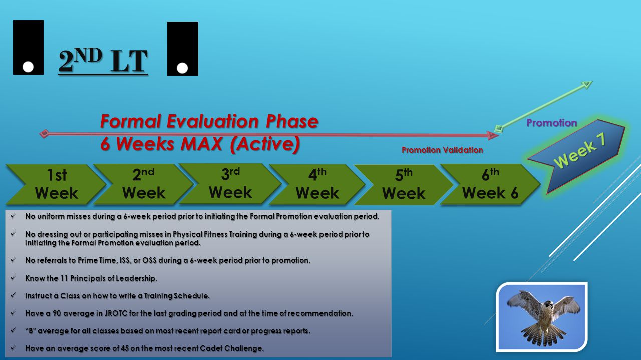 1st Week 4 th Week 2 nd Week 3 rd Week 5 th Week 6 th Week 6 Formal Evaluation Phase Formal Evaluation Phase 6 Weeks MAX (Active) 6 Weeks MAX (Active) No uniform misses during a 6-week period prior to initiating the Formal Promotion evaluation period.