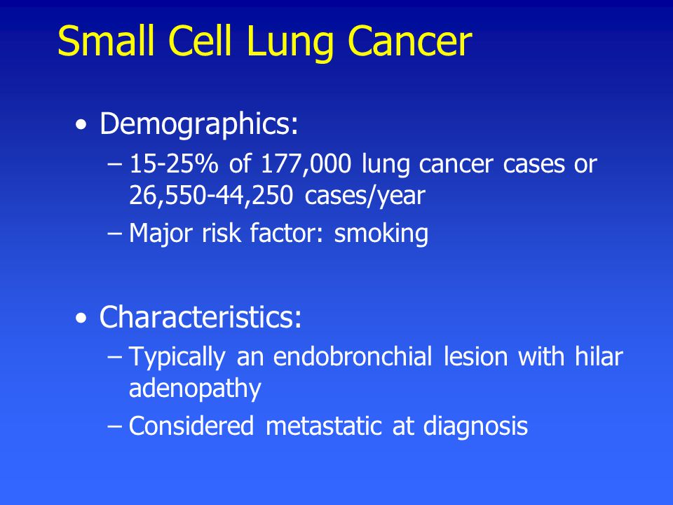 Small Cell Lung Cancer Demographics: –15-25% of 177,000 lung cancer cases or 26,550-44,250 cases/year –Major risk factor: smoking Characteristics: –Typically an endobronchial lesion with hilar adenopathy –Considered metastatic at diagnosis