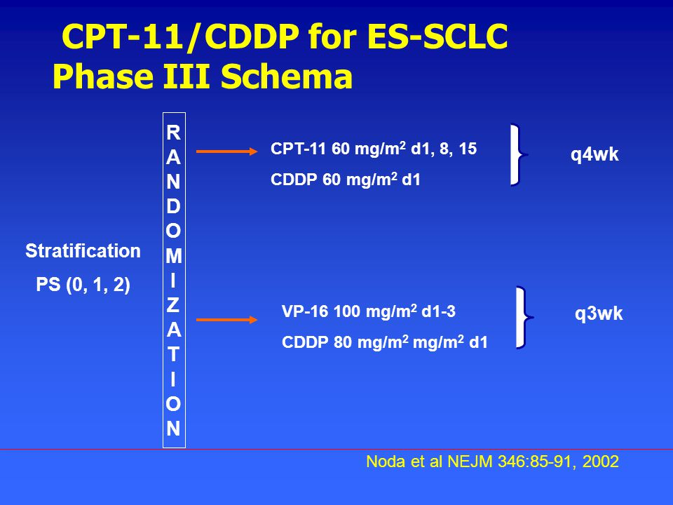 CPT-11/CDDP for ES-SCLC Phase III Schema RANDOMIZATIONRANDOMIZATION CPT-11 60 mg/m 2 d1, 8, 15 CDDP 60 mg/m 2 d1 VP-16 100 mg/m 2 d1-3 CDDP 80 mg/m 2 mg/m 2 d1 Stratification PS (0, 1, 2) Noda et al NEJM 346:85-91, 2002 q4wk q3wk