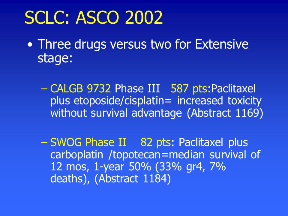SCLC: ASCO 2002 Three drugs versus two for Extensive stage: –CALGB 9732 Phase III 587 pts:Paclitaxel plus etoposide/cisplatin= increased toxicity without survival advantage (Abstract 1169) –SWOG Phase II 82 pts: Paclitaxel plus carboplatin /topotecan=median survival of 12 mos, 1-year 50% (33% gr4, 7% deaths), (Abstract 1184)