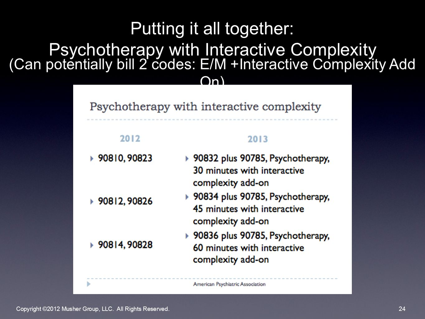 Putting it all together: Psychotherapy with Interactive Complexity (Can potentially bill 2 codes: E/M +Interactive Complexity Add On) Copyright ©2012 Musher Group, LLC.