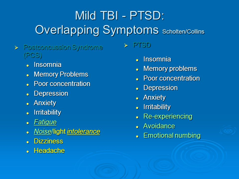 Mild TBI - PTSD: Overlapping Symptoms Scholten/Collins  Postconcussion Syndrome (PCS) Insomnia Insomnia Memory Problems Memory Problems Poor concentration Poor concentration Depression Depression Anxiety Anxiety Irritability Irritability Fatigue Fatigue Noise/light intolerance Noise/light intolerance Dizziness Dizziness Headache Headache  PTSD Insomnia Memory problems Poor concentration Depression Anxiety Irritability Re-experiencing Avoidance Emotional numbing