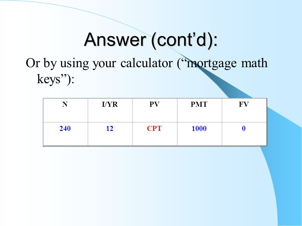 Answer (cont'd): Or by using your calculator ( mortgage math keys ): NI/YRPVPMTFV 24012CPT10000