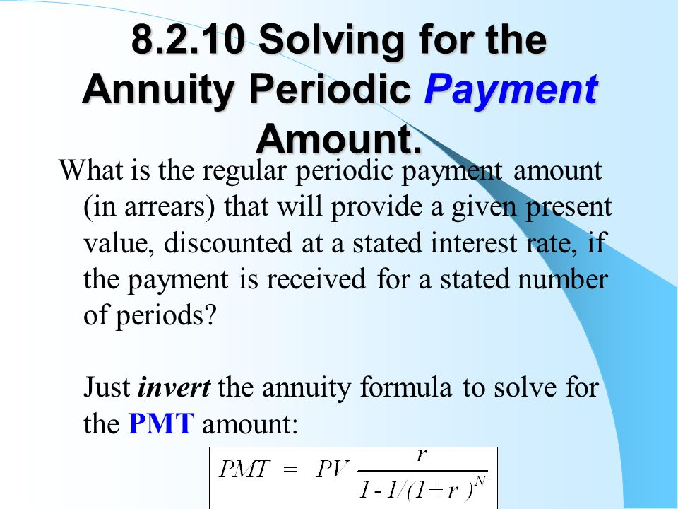 8.2.10 Solving for the Annuity Periodic Payment Amount.