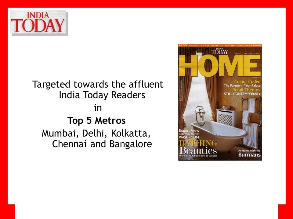 Targeted towards the affluent India Today Readers in Top 5 Metros Mumbai, Delhi, Kolkatta, Chennai and Bangalore