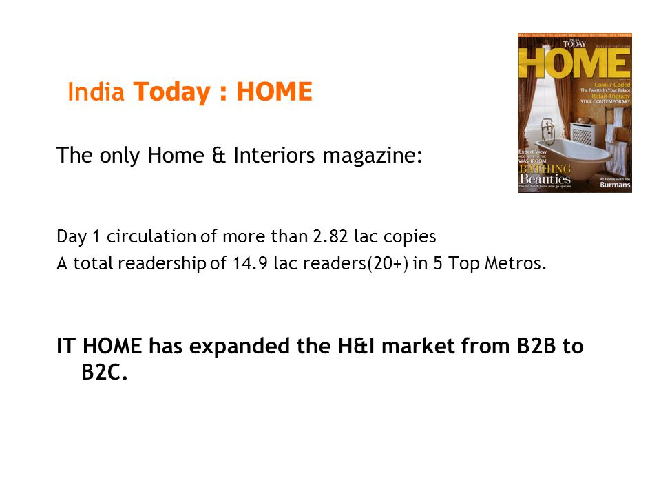 India Today : HOME The only Home & Interiors magazine: Day 1 circulation of more than 2.82 lac copies A total readership of 14.9 lac readers(20+) in 5 Top Metros.