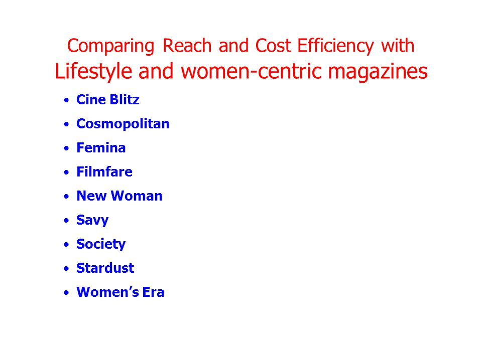 Comparing Reach and Cost Efficiency with Lifestyle and women-centric magazines Cine Blitz Cosmopolitan Femina Filmfare New Woman Savy Society Stardust Women's Era