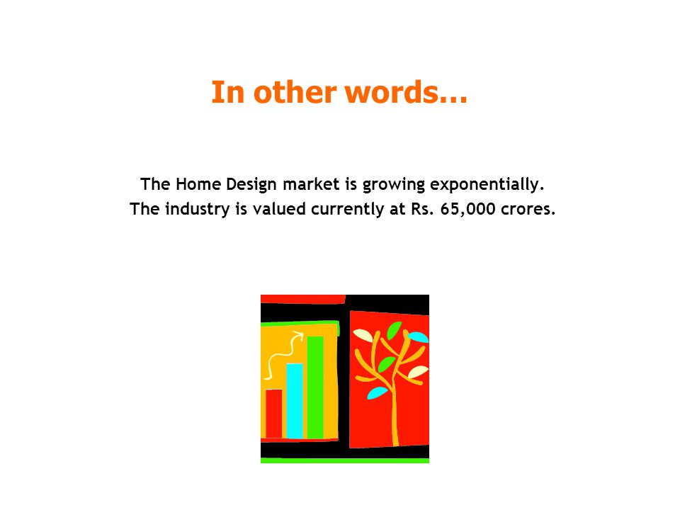 In other words… The Home Design market is growing exponentially. The industry is valued currently at Rs. 65,000 crores.