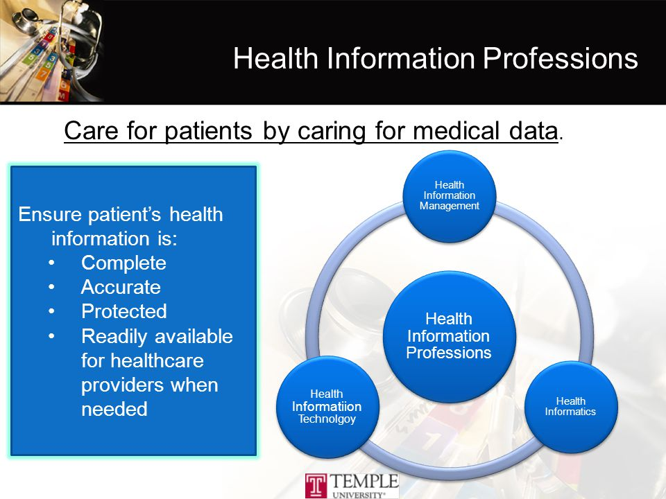 Health Information Management Health Informatics Health Informatiion Technolgoy Care for patients by caring for medical data.