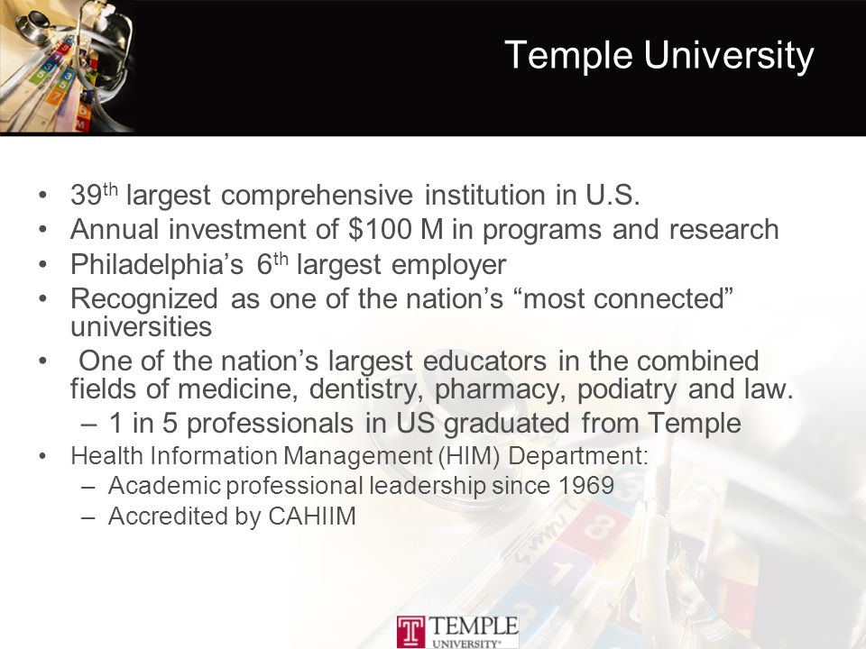 Temple University 39 th largest comprehensive institution in U.S.