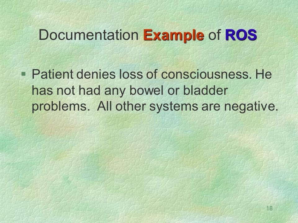 18 Example ROS Documentation Example of ROS  Patient denies loss of consciousness. He has not had any bowel or bladder problems. All other systems ar