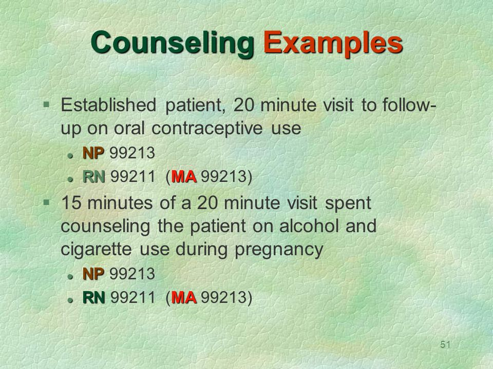 51 Counseling Examples  Established patient, 20 minute visit to follow- up on oral contraceptive use NP NP 99213 RN MA RN 99211 (MA 99213)  15 minut