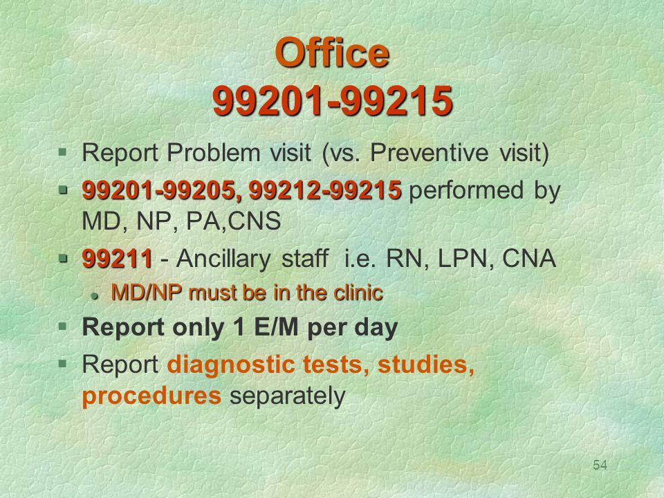 54 Office 99201-99215  Report Problem visit (vs. Preventive visit)  99201-99205, 99212-99215  99201-99205, 99212-99215 performed by MD, NP, PA,CNS