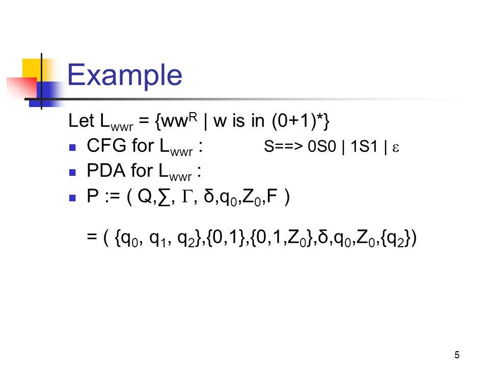 26 Example: CFG to PDA G = ( {S,A}, {0,1}, P, S) P: S ==> AS |  A ==> 0A1 | A1 | 01 PDA = ({q}, {0,1}, {0,1,A,S}, δ, q, S) δ: δ(q, , S) = { (q, AS), (q,  )} δ(q, , A) = { (q,0A1), (q,A1), (q,01) } δ(q, 0, 0) = { (q,  ) } δ(q, 1, 1) = { (q,  ) } How will this new PDA work.