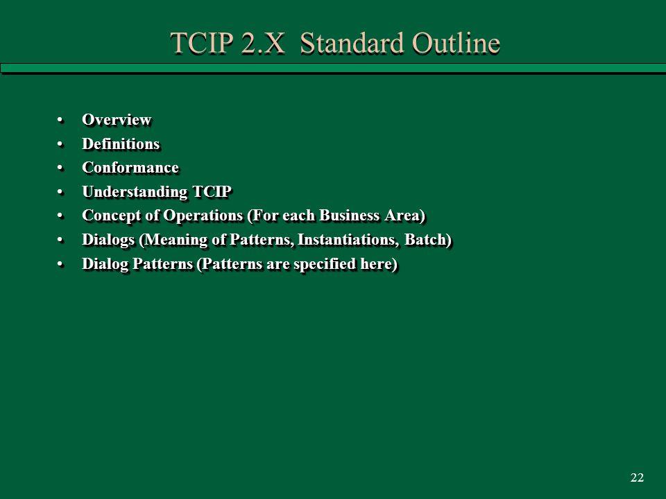 22 TCIP 2.X Standard Outline OverviewOverview DefinitionsDefinitions ConformanceConformance Understanding TCIPUnderstanding TCIP Concept of Operations (For each Business Area)Concept of Operations (For each Business Area) Dialogs (Meaning of Patterns, Instantiations, Batch)Dialogs (Meaning of Patterns, Instantiations, Batch) Dialog Patterns (Patterns are specified here)Dialog Patterns (Patterns are specified here) OverviewOverview DefinitionsDefinitions ConformanceConformance Understanding TCIPUnderstanding TCIP Concept of Operations (For each Business Area)Concept of Operations (For each Business Area) Dialogs (Meaning of Patterns, Instantiations, Batch)Dialogs (Meaning of Patterns, Instantiations, Batch) Dialog Patterns (Patterns are specified here)Dialog Patterns (Patterns are specified here)
