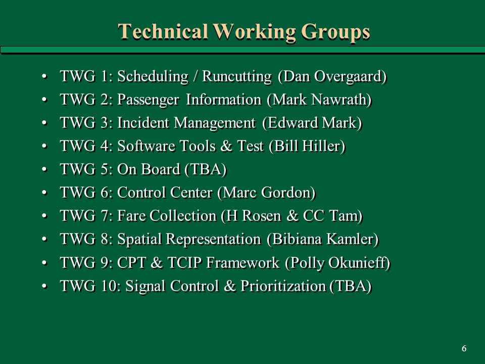 6 Technical Working Groups TWG 1: Scheduling / Runcutting (Dan Overgaard) TWG 2: Passenger Information (Mark Nawrath) TWG 3: Incident Management (Edwa