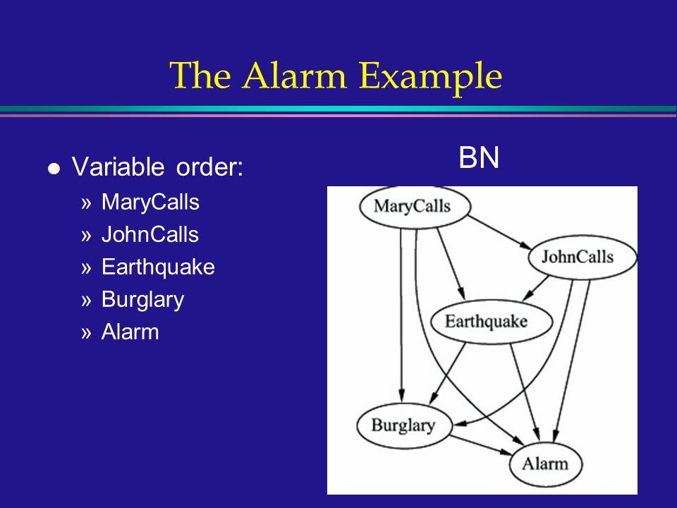 12 The Alarm Example l Variable order: »MaryCalls »JohnCalls »Earthquake »Burglary »Alarm BN
