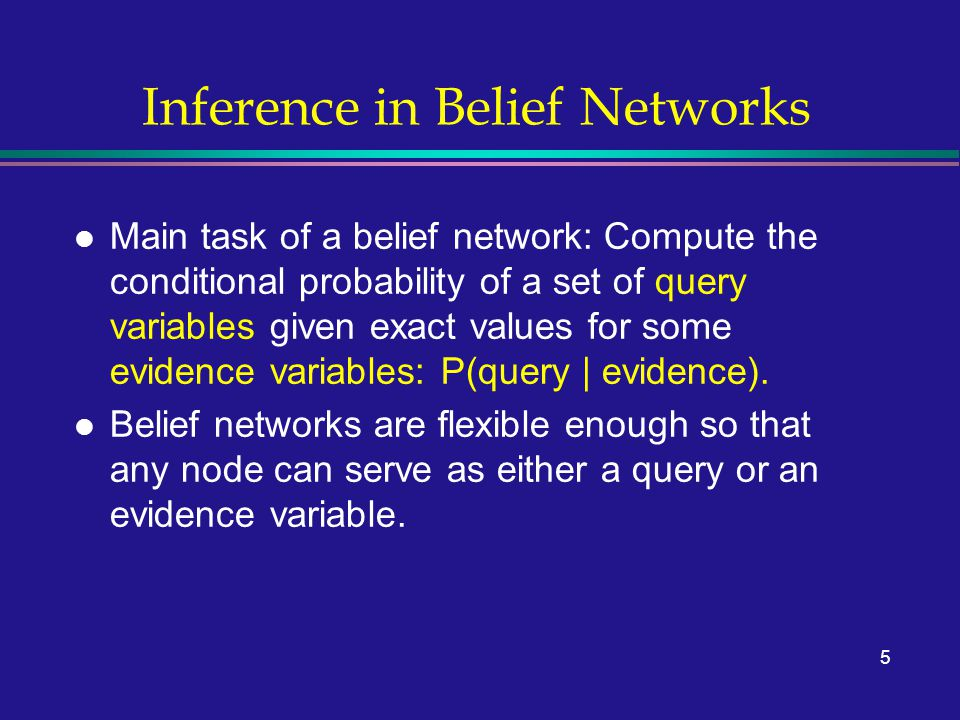 5 Inference in Belief Networks l Main task of a belief network: Compute the conditional probability of a set of query variables given exact values for some evidence variables: P(query | evidence).