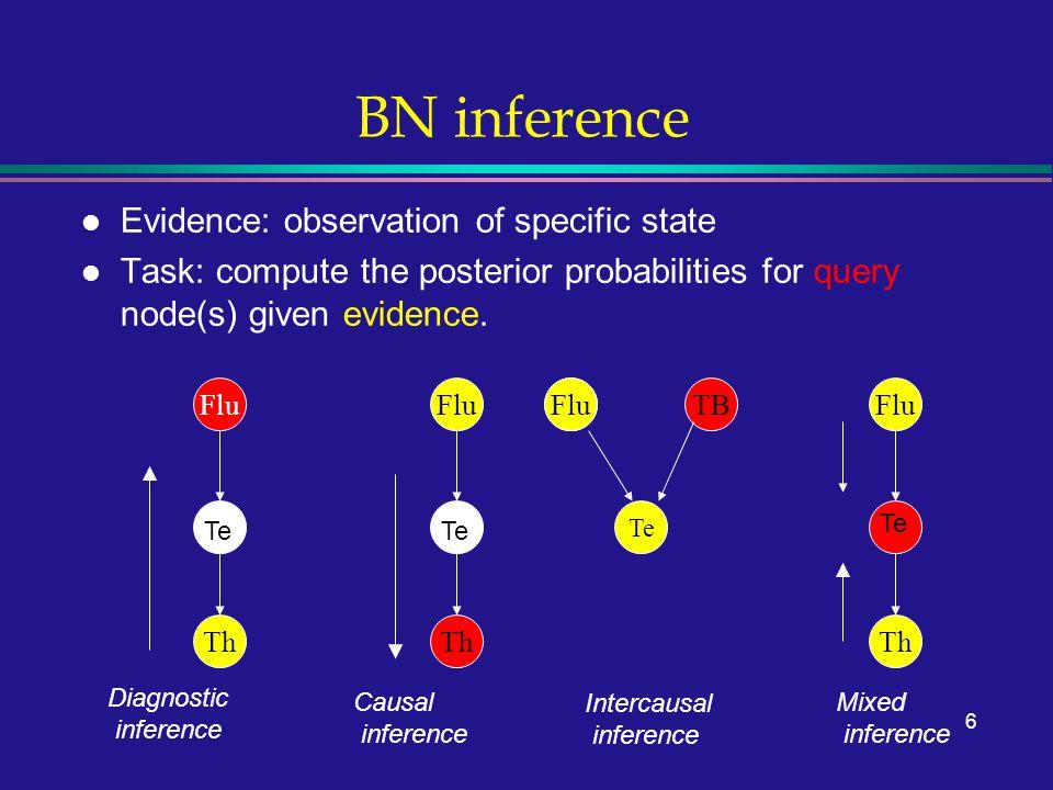 7 Building a BN l Choose a set of random variables X i that describe the domain.