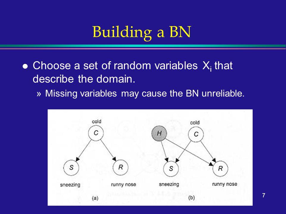 8 Building a BN l Choose a set of random variables X i that describe the domain.