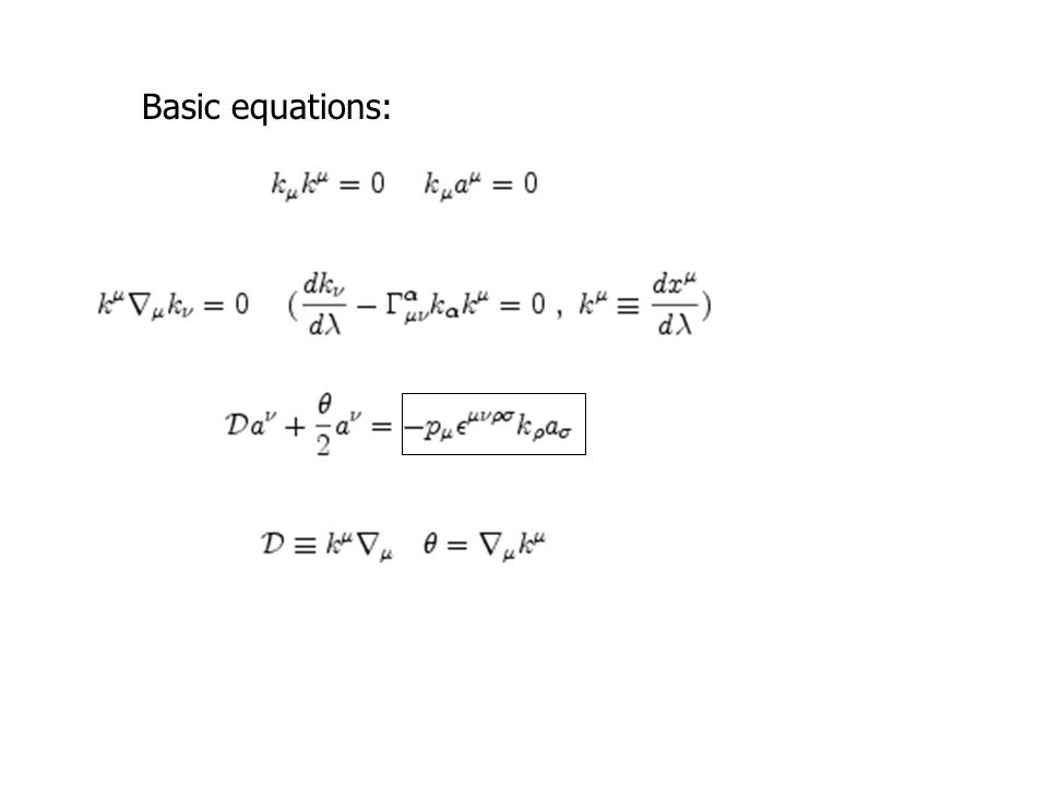 Basic equations:
